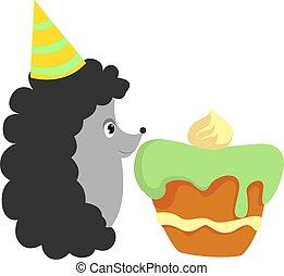 Hedgehog with cake, illustration, vector on white background.