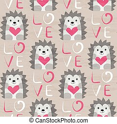 Hedgehog with heart seamless pattern