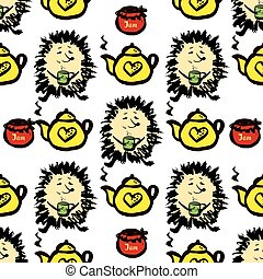 Hedgehog with jam, a cup of tea and teapot seamless pattern