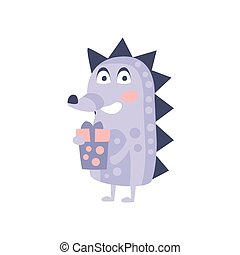 Hedgehog With Party Attributes Girly Stylized Funky Sticker