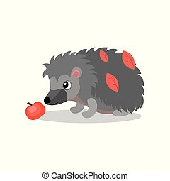 Hedgehog with red apple, cute animal cartoon character vector Illustration on a white background
