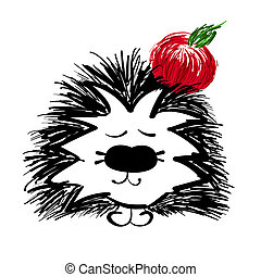 hedgehog with red apple on a white background.