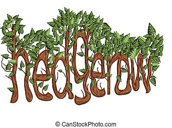 hedgerow. letters as trees with leaves