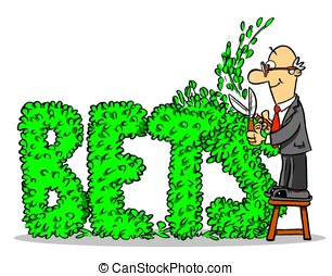 """Hedging bets  - Cartoon man cutting hedge to """"BETS"""" shape"""