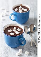 hedt chokolade, hos, mini, marshmallows