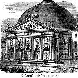 hedwig, catedral, grabado, santo, vendimia
