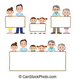 heeft, gezin, whiteboard