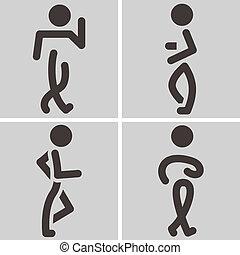 Heel-and-toe walk - Summer sports icons set - heel-and-toe...