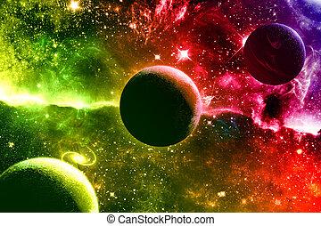 heelal, melkweg, nebula, sterretjes, en, planeet