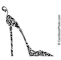 heeled, damast, hoch, retro, schick, schuh