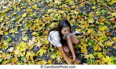 heels, ходить, learns, осень, подросток, park., девушка