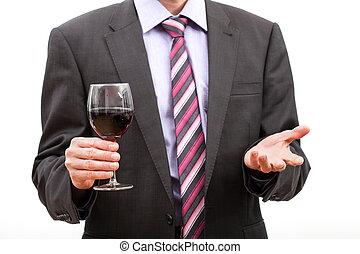 heer, het houden een glas, van, wijn.