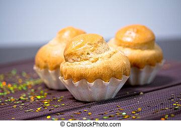 heerlijk, bakkerij, franse , muffin