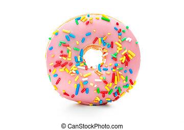 heerlijk, donut, met, bestrooit