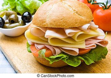 heerlijk, ham, kaas, en, saladesandwich