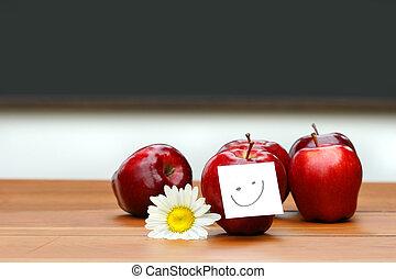 heerlijk, rode appel, op bureau, met, bord