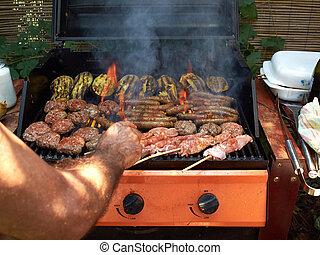 heerlijk, selectie, van, vlees, bbq, op, grill