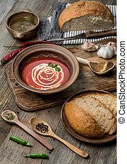heerlijk, tomaat, bisque, met, zelfgemaakt, brood