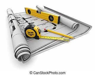 heersers, concept., bouwsector, bouwschets, niveau