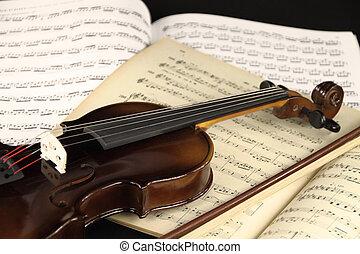 hegedű, és, zene lap