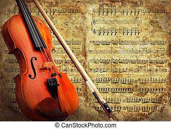 hegedű, grunge, retro, háttér, zenés