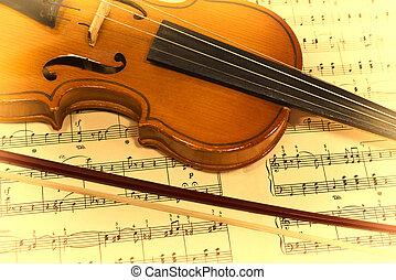 hegedű, hangjegy, öreg, zenés