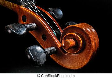 hegedű indadísz, részletez, pegbox