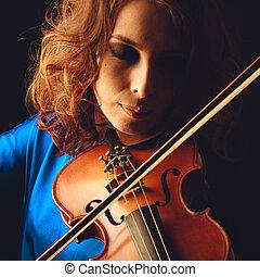 hegedű, játék, hegedűművész, musician., nő, klasszikus, hangszer, játékos, képben látható, fekete