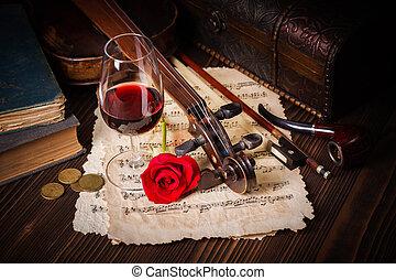 hegedű, kép, felcsavar, romantikus, részletez