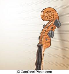 hegedű, megvonalaz, nyak, háttér, zenés