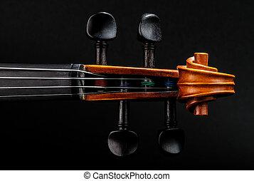 hegedű nyak, felcsavar, pegbox, részletez