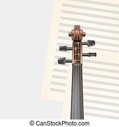 hegedű, zenés, háttér, nyak