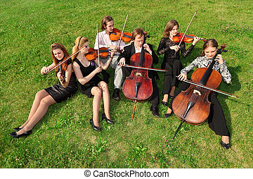 hegedűművész, játék, ül, hat, félkör, fű
