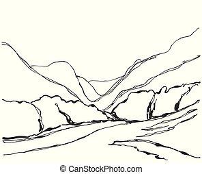 hegy, ábra, kéz, vektor, húzott, táj