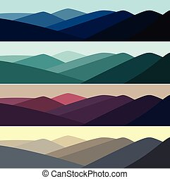 hegy, ábra, vektor, idő, nap, táj