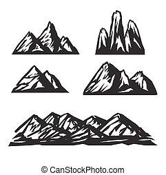 hegy, állhatatos, ikonok, háttér., vektor, fehér