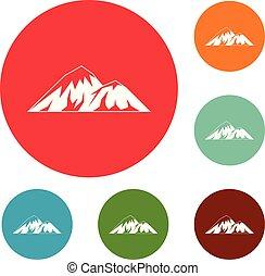 hegy, állhatatos, ikonok, vektor, mászó, karika