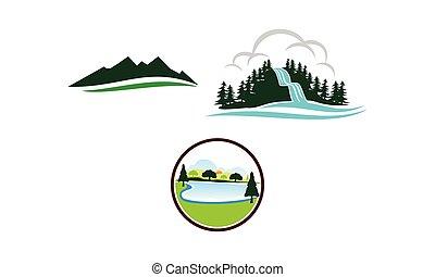 hegy, állhatatos, tó, sablon