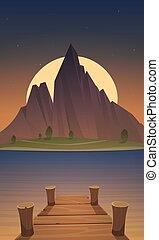 hegy, éjszaka, tó, dokk, idő