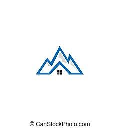 hegy, épület, vektor, sablon, jel, ikon