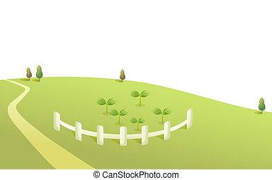 hegy, út, és, kerítés