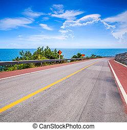 hegy út, tenger, autóút, parti