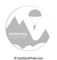 hegy, aláír, skydivind, vektor, táj, ugró