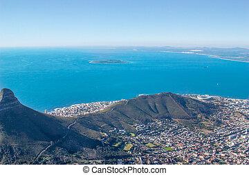 hegy, antenna, város, színpadi, afrika, kilátás, asztal,...