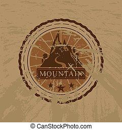hegy, böllér, vektor, grunge