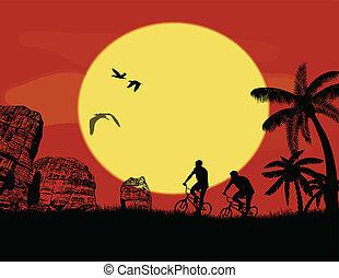 hegy bicikli, bicikli, lovasok, alatt, vad, hegy