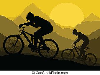 hegy bicikli, bicikli, lovasok, alatt, vad, hegy, természet parkosít, háttér, ábra, vektor