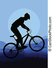hegy bicikli, bicikli, lovasok, vektor