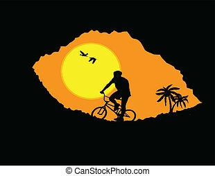 hegy bicikli, bicikli rider, alatt, vad, hegy