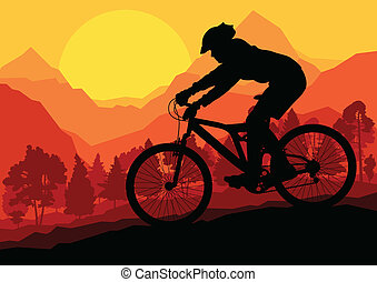 hegy bicikli, lovasok, alatt, vad, erdő, hegy, természet parkosít, háttér, ábra, vektor